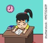 businesswoman sitting in office ...   Shutterstock .eps vector #490732609