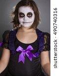 The Girl Wearing Halloween Make ...