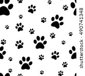 dog paw print seamless. traces... | Shutterstock .eps vector #490741348