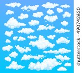cartoon clouds. illustration on ... | Shutterstock .eps vector #490742620