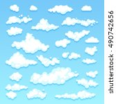 set of blue sky  clouds. icon... | Shutterstock .eps vector #490742656