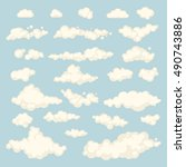 set of blue sky  clouds. icon... | Shutterstock .eps vector #490743886