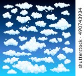 cartoon clouds set on blue sky... | Shutterstock .eps vector #490743934