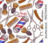 barber shop. seamless... | Shutterstock .eps vector #490744444