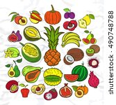 big fruits collection.... | Shutterstock .eps vector #490748788