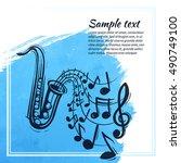 saxophone music concept. sketch ... | Shutterstock .eps vector #490749100