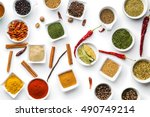 various dried herbs and spices... | Shutterstock . vector #490749214