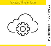 cloud storage settings linear... | Shutterstock .eps vector #490749628