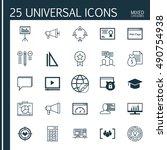 universal icons set on mixed...