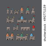 set of cartoon castle | Shutterstock .eps vector #490771159