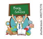 boy kid of back to school design   Shutterstock .eps vector #490775770