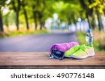 pair of yellow green sport... | Shutterstock . vector #490776148