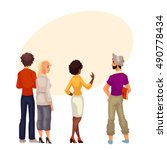 people stand with his back to... | Shutterstock . vector #490778434