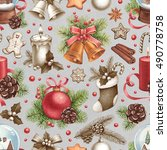 vintage christmas pattern.... | Shutterstock . vector #490778758