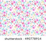 cute floral pattern of small... | Shutterstock .eps vector #490778914