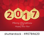 merry christmas and happy new... | Shutterstock .eps vector #490784620