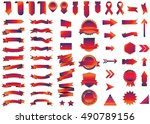 banner red vector icon set on... | Shutterstock .eps vector #490789156