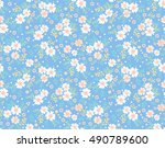 cute floral pattern in the... | Shutterstock .eps vector #490789600