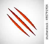 three red scratches from claws  ... | Shutterstock .eps vector #490791904