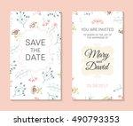 wedding set. romantic vector... | Shutterstock .eps vector #490793353