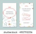 wedding set. romantic vector... | Shutterstock .eps vector #490793356
