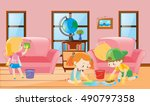 three children cleaning living...   Shutterstock .eps vector #490797358