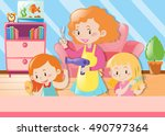 mother cutting daughters hair... | Shutterstock .eps vector #490797364