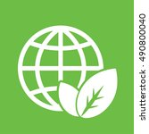 globe planet plant leaf sprout  ... | Shutterstock .eps vector #490800040