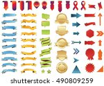 banner gold red vector icon set ... | Shutterstock .eps vector #490809259