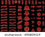 banner red vector icon set on... | Shutterstock .eps vector #490809319