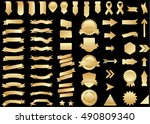 ribbon gold vector icon on... | Shutterstock .eps vector #490809340