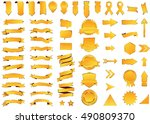 ribbon yellow vector icon on... | Shutterstock .eps vector #490809370