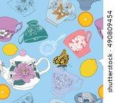 tea cup seamless pattern   Shutterstock .eps vector #490809454