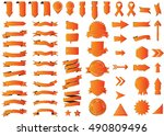 ribbon orange vector icon on... | Shutterstock .eps vector #490809496