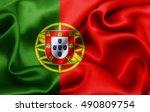 portugal flag of silk 3d... | Shutterstock . vector #490809754