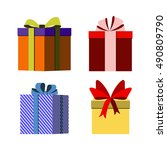 colorful wrapped gift boxes... | Shutterstock . vector #490809790