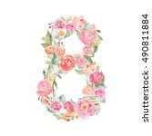 cute floral watercolor number 8 | Shutterstock . vector #490811884
