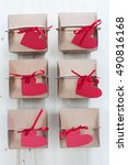 valentine's day gift boxes on a ... | Shutterstock . vector #490816168