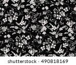 trendy seamless floral pattern... | Shutterstock .eps vector #490818169