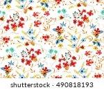 trendy seamless floral pattern... | Shutterstock .eps vector #490818193