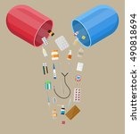 capsule pharmaceutical with...   Shutterstock .eps vector #490818694
