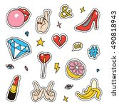 set of fashion sketchy patches. ... | Shutterstock .eps vector #490818943