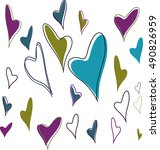 colorful hearts on white... | Shutterstock .eps vector #490826959
