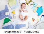 baby on white background with... | Shutterstock . vector #490829959