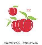 peach. fresh fruit on white... | Shutterstock .eps vector #490834786