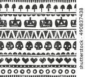 seamless halloween pattern in... | Shutterstock .eps vector #490837438