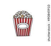 doodle icon. popcorn. vector... | Shutterstock .eps vector #490845910
