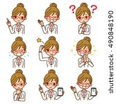 woman doctor icon collection.