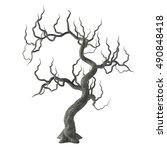 spooky gnarled halloween tree... | Shutterstock . vector #490848418