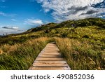 wooden footbridge on a mountain ... | Shutterstock . vector #490852036